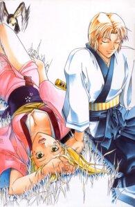 Rating: Safe Score: 3 Tags: akira_(samurai_deeper_kyo) cleavage kamijyo_akimine kimono no_bra samurai_deeper_kyo shiina_yuya sword User: Radioactive