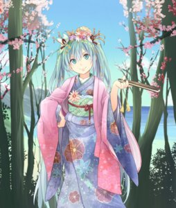 Rating: Safe Score: 44 Tags: hatsune_miku hpflower kimono vocaloid User: dyj