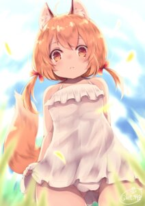 Rating: Questionable Score: 24 Tags: animal_ears cameltoe chita_(ketchup) dress pantsu tail User: Mr_GT