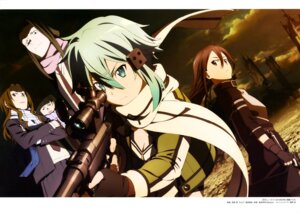 Rating: Safe Score: 27 Tags: armor cleavage gun gun_gale_online kirito seifuku sinon sword_art_online takata_akira User: drop