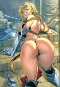 Rating: Questionable Score: 4 Tags: armor ass cameltoe homare leina pantsu queen's_blade sword thighhighs topless torn_clothes User: demonbane1349