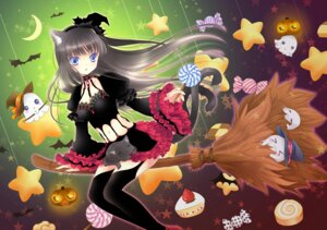 Rating: Safe Score: 27 Tags: animal_ears halloween miyu_(tenshi_no_tsubasa) neko stockings tail thighhighs witch User: van
