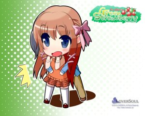 Rating: Safe Score: 6 Tags: chibi green_strawberry kokono loversoul thighhighs wallpaper User: blooregardo