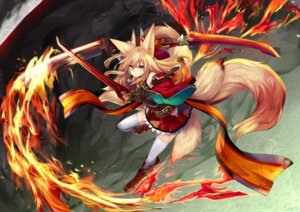 Rating: Safe Score: 38 Tags: animal_ears haik kitsune sword tail thighhighs User: Mr_GT