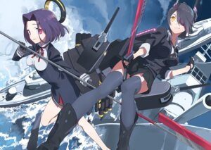 Rating: Questionable Score: 21 Tags: eyepatch gyaku_tsubasa kantai_collection sword tatsuta_(kancolle) tenryuu_(kancolle) thighhighs weapon User: DarkRoseofHell