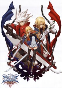 Rating: Safe Score: 28 Tags: blazblue fixed kisaragi_jin noel_vermillion ragna_the_bloodedge sword thighhighs User: fireattack