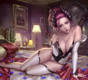 Rating: Questionable Score: 102 Tags: cleavage horns mercy_(overwatch) no_bra open_shirt overwatch ozma_(ozmakku) pantsu reaper thighhighs User: Mr_GT