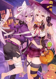 Rating: Questionable Score: 27 Tags: animal_ears ass bandages bandaid chibi cleavage crossover garter halloween nekomata_okayu nekomimi nijisanji no_bra shiina_yuika tagme tail thighhighs torn_clothes witch User: Mr_GT