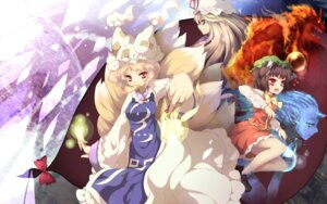 Rating: Safe Score: 15 Tags: animal_ears chen nekomimi tail touhou uruugekka wallpaper yakumo_ran yakumo_yukari User: charunetra