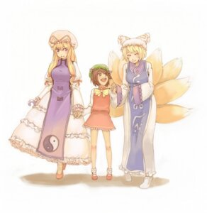 Rating: Safe Score: 10 Tags: animal_ears chen dress inu_(wankosan) kitsune lolita_fashion tail touhou yakumo_ran yakumo_yukari User: konstargirl