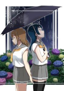 Rating: Safe Score: 9 Tags: kunikida_hanamaru love_live!_sunshine!! seifuku thighhighs tsushima_yoshiko umbrella vorupi User: saemonnokami
