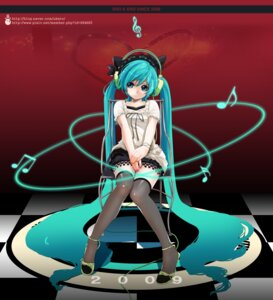 Rating: Safe Score: 35 Tags: hatsune_miku headphones thighhighs ukero vocaloid User: Radioactive