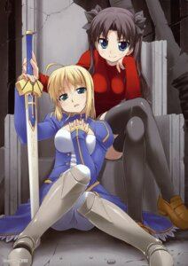 Rating: Safe Score: 22 Tags: armor bakutendou dress fate/stay_night pantyhose saber sword thighhighs toosaka_rin User: Aurelia