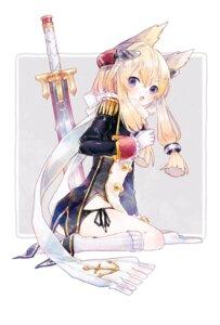 Rating: Safe Score: 25 Tags: animal_ears azur_lane kikka_(kicca_choco) pantsu string_panties sword uniform warspite_(azur_lane) User: Mr_GT