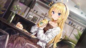 Rating: Safe Score: 37 Tags: aogiri_koukou_game_club cream dress kuria_(clear_trip_second) minazuki_natsuki sweater User: Dreista