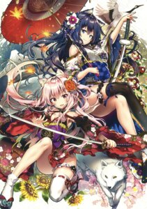Rating: Questionable Score: 57 Tags: animal_ears garter japanese_clothes riichu sword tagme thighhighs umbrella User: Twinsenzw