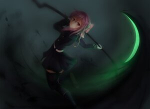 Rating: Safe Score: 36 Tags: hiiragi_shinoa onamae_kun owari_no_seraph seifuku thighhighs weapon User: Humanpinka