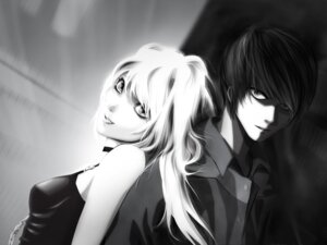 Rating: Safe Score: 8 Tags: amane_misa death_note monochrome wallpaper yagami_light User: charunetra