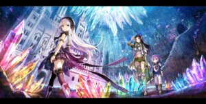 Rating: Safe Score: 68 Tags: dress elf fuzichoko landscape pointy_ears sword thighhighs User: fairyren