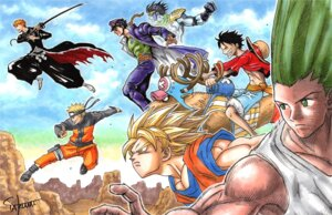 Rating: Safe Score: 5 Tags: bleach dragon_ball dragon_ball_z gon_freecs hunter_x_hunter jojo's_bizarre_adventure kujo_jotaro kurosaki_ichigo male monkey_d_luffy naruto naruto_shippuden one_piece shounen_jump son_goku tagme tony_tony_chopper uzumaki_naruto User: Radioactive
