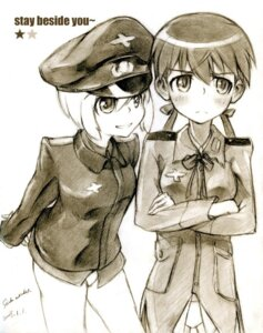 Rating: Safe Score: 6 Tags: erica_hartmann gertrud_barkhorn kisetsu monochrome sketch strike_witches User: charunetra