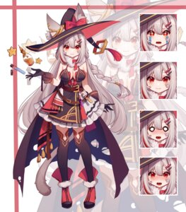 Rating: Safe Score: 14 Tags: ai_xiao_meng animal_ears cleavage expression nekomimi no_bra tail thighhighs witch User: whitespace1