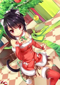 Rating: Safe Score: 83 Tags: animal_ears christmas cleavage dress kaede_(artist) nekomimi tail thighhighs User: Mr_GT