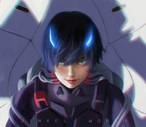 Rating: Safe Score: 3 Tags: bodysuit darling_in_the_franxx hiro_(darling_in_the_franxx) horns jinxel_world male signed User: 김도엽