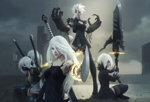 Rating: Safe Score: 12 Tags: cleavage dress leotard mecha_musume nier_automata pantsu paul_remy sword thighhighs weapon yorha_type_a_no._2 User: Mr_GT