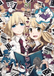 Rating: Safe Score: 9 Tags: alice_in_wonderland alice_margatroid dress kirisame_marisa neko paper_texture sakuraba_yuuki touhou User: NotRadioactiveHonest