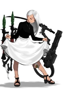 Rating: Safe Score: 16 Tags: asagon007 gun heels mecha_musume skirt_lift sword weapon User: Mr_GT