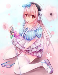 Rating: Safe Score: 46 Tags: dress headphones heels sawa sonico stockings super_sonico thighhighs User: Velociraptor