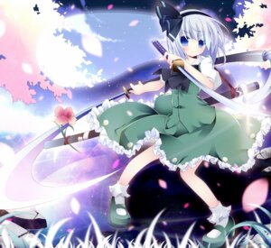 Rating: Safe Score: 16 Tags: kabe konpaku_youmu sword touhou User: TassadaR