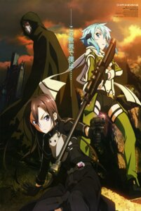 Rating: Safe Score: 52 Tags: gun gun_gale_online kirito kondou_natsuko sinon sword_art_online thighhighs User: drop