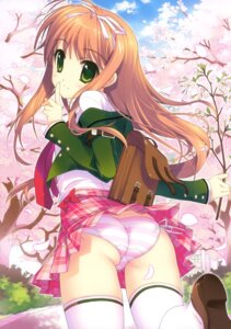 Rating: Questionable Score: 80 Tags: ass fujima_takuya pantsu seifuku shimapan string_panties thighhighs User: crim