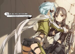 Rating: Questionable Score: 17 Tags: abec armor ass garter gun gun_gale_online kirito sinon sword_art_online User: kiyoe