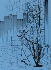 Rating: Safe Score: 13 Tags: chii chobits clamp monochrome skirt_lift umbrella wet_clothes User: Aurelia