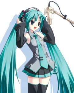 Rating: Safe Score: 35 Tags: amino_kohaku hatsune_miku headphones thighhighs vocaloid User: asterixvader