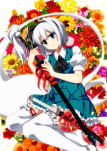 Rating: Safe Score: 27 Tags: konpaku_youmu sazanami_mio sword thighhighs touhou User: Mr_GT