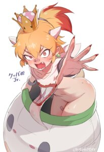 Rating: Questionable Score: 15 Tags: bandaid bottomless bowsette_jr. horns new_super_mario_bros._u_deluxe no_bra pointy_ears shirt_lift tail toku_(ke7416613) User: Fredguitarist
