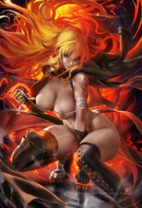 Rating: Questionable Score: 6 Tags: armor bandages naked_cape nipples rwby sakimichan tattoo thighhighs yang_xiao_long User: BattlequeenYume