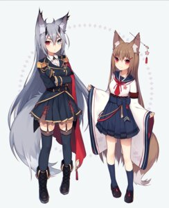Rating: Safe Score: 50 Tags: animal_ears heterochromia kitsune lolita_fashion muryou see_through seifuku stockings thighhighs uniform wa_lolita User: fairyren
