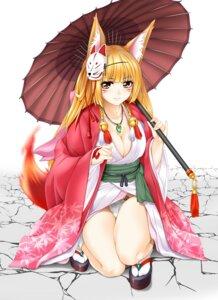 Rating: Questionable Score: 25 Tags: animal_ears cleavage japanese_clothes kitsune no_bra open_shirt pantsu tail tomoya_kankurou umbrella User: Mr_GT