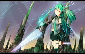 Rating: Safe Score: 14 Tags: en@rain hatsune_miku sword thighhighs vocaloid User: charunetra