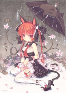 Rating: Questionable Score: 107 Tags: abyss_of_parliament animal_ears dress kaenbyou_rin nekomimi nopan skirt_lift stockings tail thighhighs touhou User: blooregardo