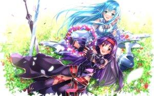 Rating: Safe Score: 48 Tags: asuna_(sword_art_online) elf konno_yuuki pointy_ears sword sword_art_online swordsouls thighhighs User: SubaruSumeragi