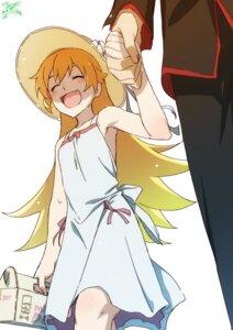 Rating: Safe Score: 15 Tags: araragi_koyomi bakemonogatari dress makicha monogatari_(series) no_bra oshino_shinobu seifuku summer_dress User: yanis