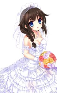 Rating: Safe Score: 28 Tags: cleavage dress kantai_collection no_bra shigure_(kancolle) urara_(artist) wedding_dress User: mash