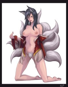 Rating: Explicit Score: 53 Tags: ahri animal_ears breasts kitsune league_of_legends nipples no_bra nopan open_shirt pubic_hair rebell tail torn_clothes User: fairyren