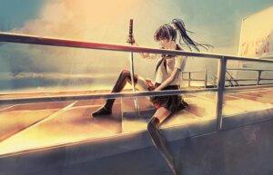 Rating: Safe Score: 6 Tags: kotori_toi seifuku sword thighhighs User: Radioactive